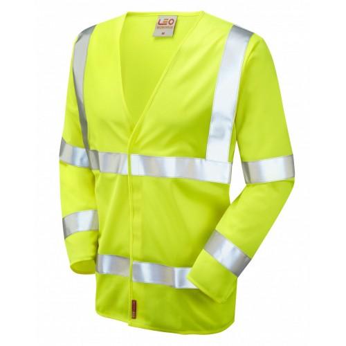 Leo Workwear Parkham Class 3 LFS Yellow Hi Vis Sleeved Waistcoat