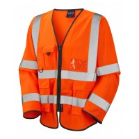 Leo Workwear Wrafton Class 3 Orange Superior Sleeved Waistcoat
