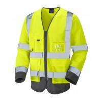 Leo Workwear Wrafton Class 3 Yellow/Grey Superior Sleeved Waistcoat