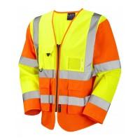 Leo Workwear Wrafton Class 3 Yellow/Orange Superior Sleeved Waistcoat