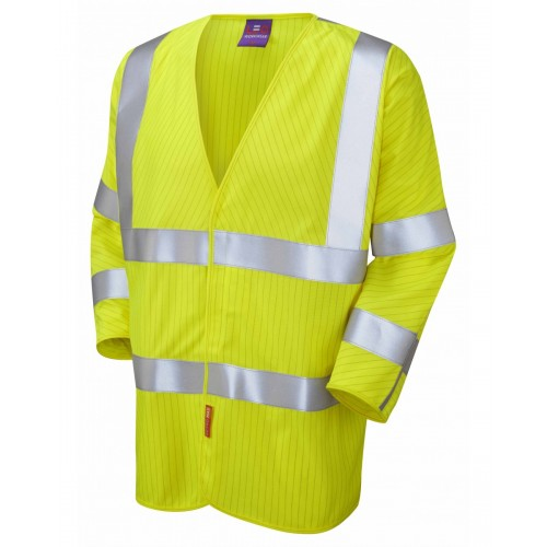 Leo Workwear Sticklepath Class 3 LFS Anti Static Yellow 3/4 Sleeves Hi Vis Waistcoat