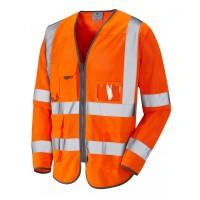 Leo Workwear Burrington Class 3 Orange CoolViz Hi Vis Sleeved Waistcoat