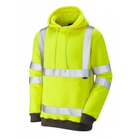 Leo Workwear Goodleigh Class 3 Yellow Hi Vis Hooded Sweatshirt