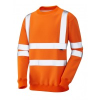 Leo Workwear Winkleigh Class 3 Orange Hi Vis Sweatshirt