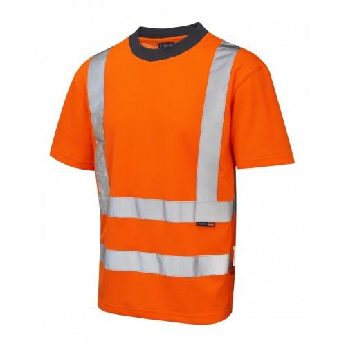 Leo Workwear Newport Class 2 GO/RT Orange Poly/Cotton T Shirt