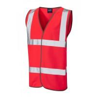 Leo Workwear Tarka Class 2 Red Hi Vis Waistcoat