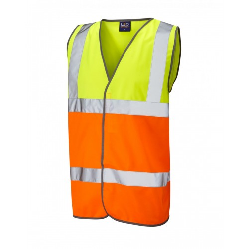 Leo Workwear Tarka Class 2 Yellow/Orange Hi Vis Waistcoat