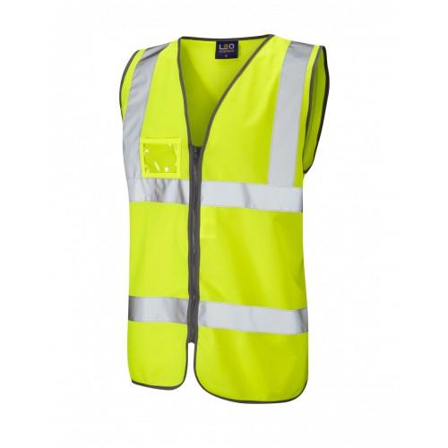Leo Workwear Rumsam Class 2 Yellow Zip Front Hi Vis Waistcoat