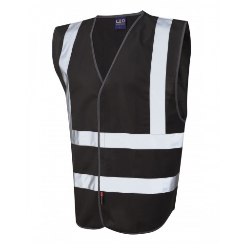 Leo Workwear Pilton Black Hi Vis Reflective Waistcoat