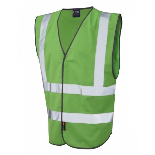 Leo Workwear Pilton Emerald Green Hi Vis Reflective Waistcoat