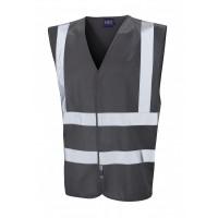 Leo Workwear Pilton Grey Hi Vis Reflective Waistcoat