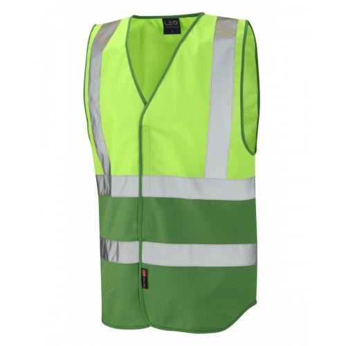 Leo Workwear Pilton Lime/Emerald Green Hi Vis Reflective Waistcoat