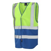 Leo Workwear Pilton Lime/Royal Blue Hi Vis Reflective Waistcoat