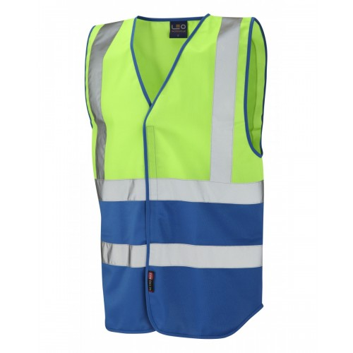 Leo Workwear Pilton Lime/Royal Blue Hi Vis Reflective Waistcoat