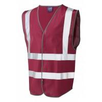 Leo Workwear Pilton Maroon Hi Vis Reflective Waistcoat