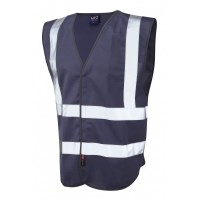 Leo Workwear Pilton Navy Hi Vis Reflective Waistcoat