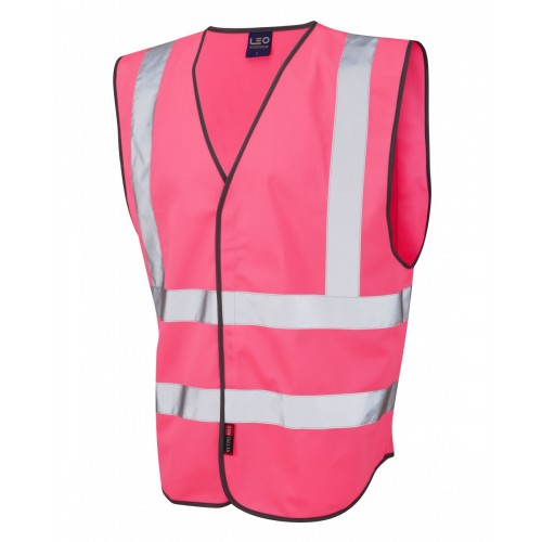 Leo Workwear Pilton Pink Hi Vis Reflective Waistcoat