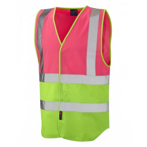 Leo Workwear Pilton Pink/Lime Hi Vis Reflective Waistcoat