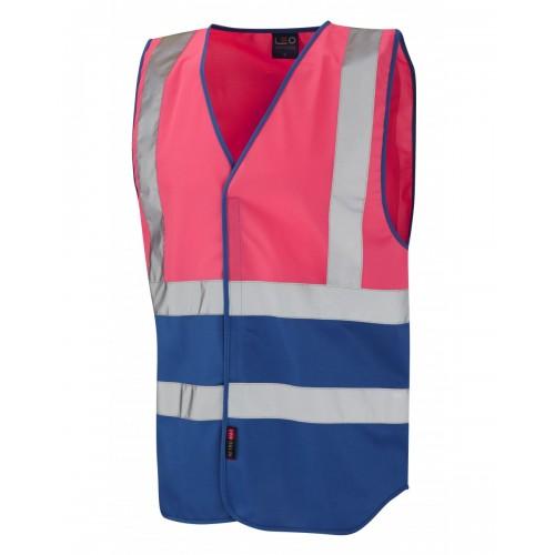 Leo Workwear Pilton Pink/Royal Blue Hi Vis Reflective Waistcoat