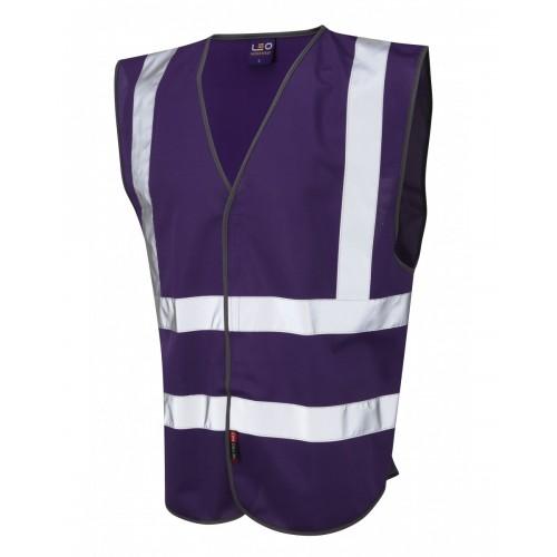 Leo Workwear Pilton Purple Hi Vis Reflective Waistcoat