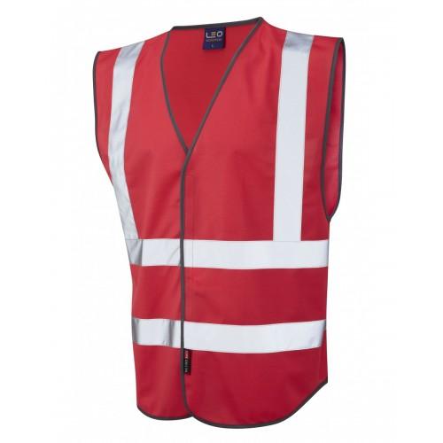 Leo Workwear Pilton Red Hi Vis Reflective Waistcoat
