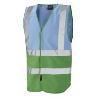 Leo Workwear Pilton Sky/Green Hi Vis Reflective Waistcoat