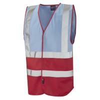 Leo Workwear Pilton Sky/Red Hi Vis Reflective Waistcoat