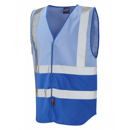 Leo Workwear Pilton Sky/Royal Blue Hi Vis Reflective Waistcoat