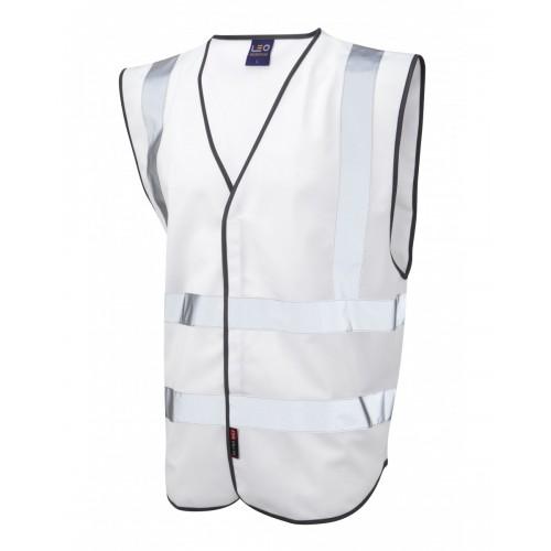 Leo Workwear Pilton White Hi Vis Reflective Waistcoat