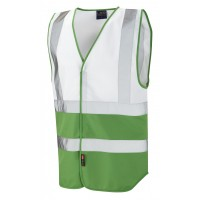 Leo Workwear Pilton White/Emerald Green Hi Vis Reflective Waistcoat