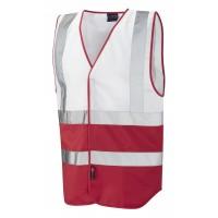 Leo Workwear Pilton White/Red Hi Vis Reflective Waistcoat