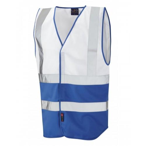 Leo Workwear Pilton White/Royal Blue Hi Vis Reflective Waistcoat