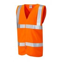 Leo Workwear Milford Class 2 Orange LFS Hi Vis Sleeved Waistcoat