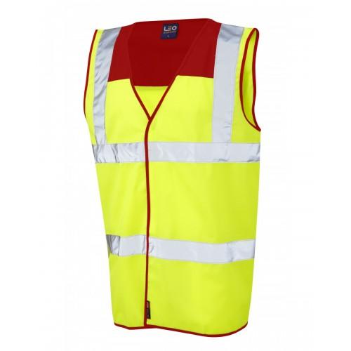Leo Workwear Bradworthy Class 2 Red Yoke Hi Vis Waistcoat