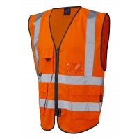 Leo Workwear Lynton Class 2 Hi Vis Orange Superior Waistcoat