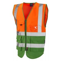 Leo Workwear Lynton Class 1 Hi Vis Orange/Emerald Green Superior Waistcoat