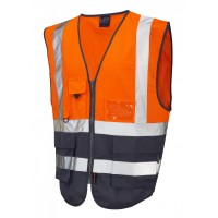 Leo Workwear Lynton Class 1 Hi Vis Orange/Navy Superior Waistcoat