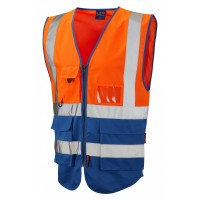 Leo Workwear Lynton Class 1 Hi Vis Orange/Royal Blue Superior Waistcoat