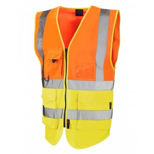 Leo Workwear Lynton Class 2 Hi Vis Orange/Yellow Superior Waistcoat
