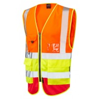 Leo Workwear Lynton Class 2 Hi Vis Orange/Yellow/Red Superior Waistcoat