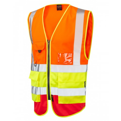 Leo Workwear Lynton Class 2 Hi Vis Orange/Yellow/Red Superior Waistcoat