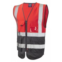 Leo Workwear Lynton Class 1 Hi Vis Red/Grey Superior Waistcoat