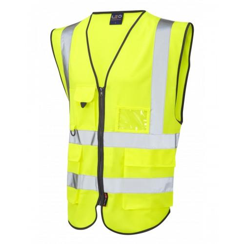 Leo Workwear Lynton Class 2 Hi Vis Yellow Superior Waistcoat