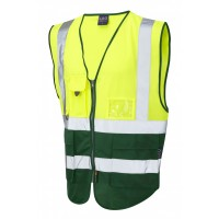 Leo Workwear Lynton Class 1 Hi Vis Yellow/Bottle Superior Waistcoat