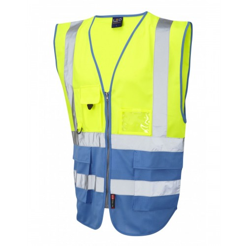 Leo Workwear Lynton Class 1 Hi Vis Yellow/Deep Sky Blue Superior Waistcoat