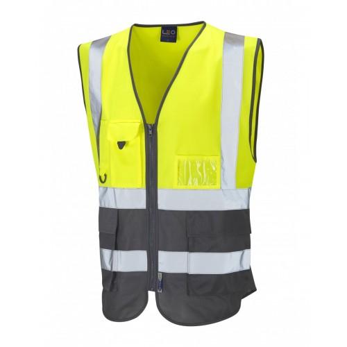 Leo Workwear Lynton Class 1 Hi Vis Yellow/Grey Superior Waistcoat