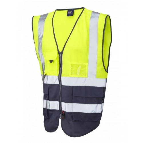 Leo Workwear Lynton Class 1 Hi Vis Yellow/Navy Superior Waistcoat