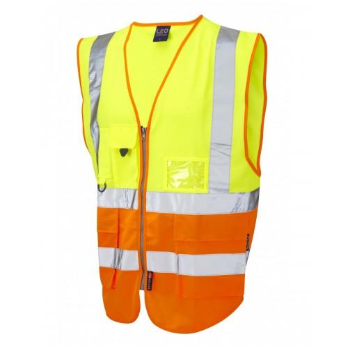 Leo Workwear Lynton Class 2 Hi Vis Yellow/Orange Superior Waistcoat
