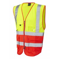 Leo Workwear Lynton Class 2 Hi Vis Yellow/Red Superior Waistcoat