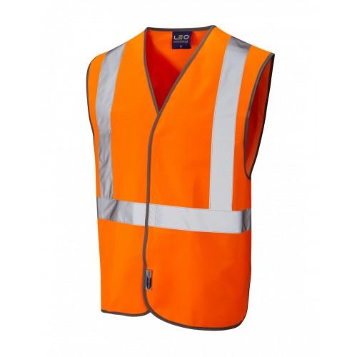Leo Workwear Lapford Class 2 GO/RT Orange Railway Waistcoat